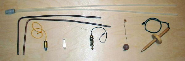 various dowsing tools, v-rod, l-rods and several types of pendulums