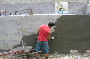 applying surface bond cement